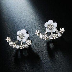 3/$20 New Silver & White Flower Rhinestone Earring